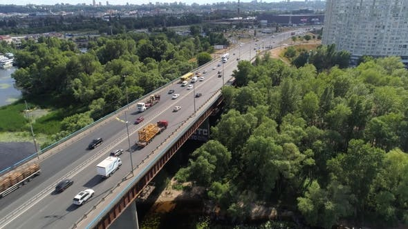 Thumbnail for Flying Over Moskovskiy Bridge with Truck and Cars