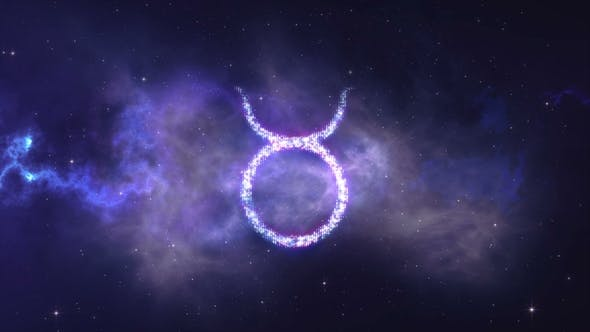 Thumbnail for Zodiac Sign Taurus Forming From the Stars with Space Background