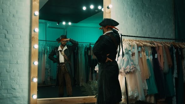 Man in Pirate Costume Rehearsing Scene