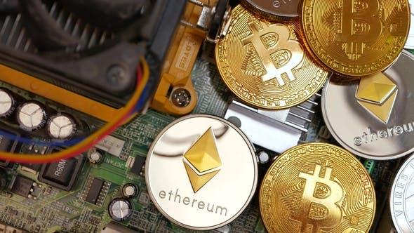 Thumbnail for Gold Bitcoin BTC Münzen und Kryptowährung Litecoin und Ethereum