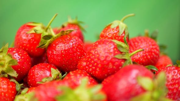 Thumbnail for Fresh Strawberries in a Bowl at Green Background