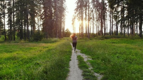 Thumbnail for Sports Woman Running in Woods Along Trail