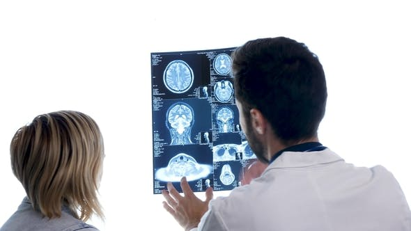 Thumbnail for Dcotor with a Patient Checking a MRI Scan in Front of Big White Dispaly