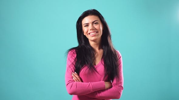 Thumbnail for Portrait of Beautiful Cheerful Girl with Long Loose Black Hair Smiling