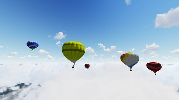 Thumbnail for Colorful Hot Air Balloons Flying