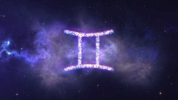 Thumbnail for Zodiac Sign Gemini Forming From the Stars with Space Background