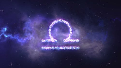 Zodiac Sign Libra Forming From the Stars with Space Background