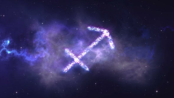 Thumbnail for Zodiac Sign Sagittarius Forming From the Stars with Space Background