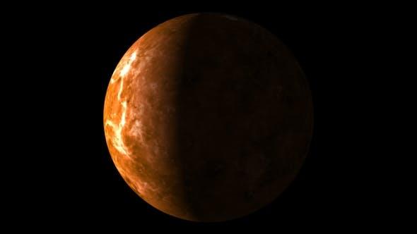 Planet Venus on a Black Background