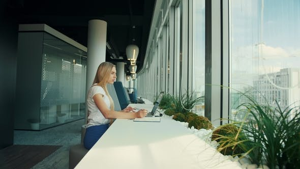Thumbnail for Businesswoman Working with Laptop in New Office. Side View of Woman Sitting at Table Alongside
