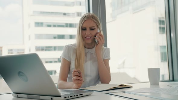 Thumbnail for Serious Woman Working in Light Office Room. Elegant Modern Business Woman with Laptop and Papers at