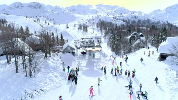 Thumbnail for Group of Skiers at the Top of the Ski Lift Aerial