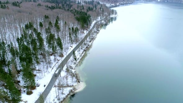 Thumbnail for Aerial Fly Over Road with a Bus at the Bohinj Lake