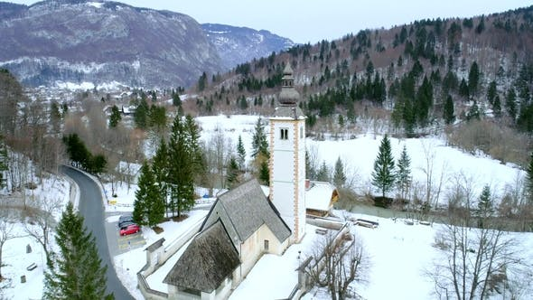 Thumbnail for Aerial View of St John Chapel on Bohinj Lake