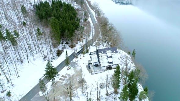 Thumbnail for Aerial Shot of Road with a Bus at the Bohinj Lake