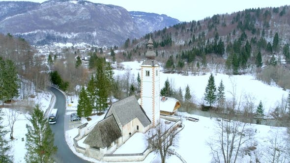 Thumbnail for Aerial Shot of Bohinj Lake and Church