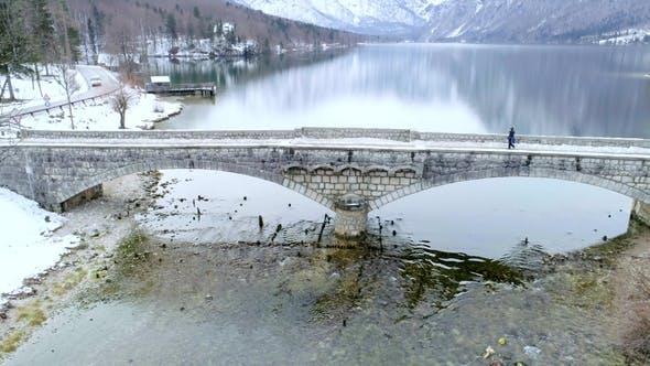 Thumbnail for Young Woman on the Bridge Near Bohinj Lake Aerial