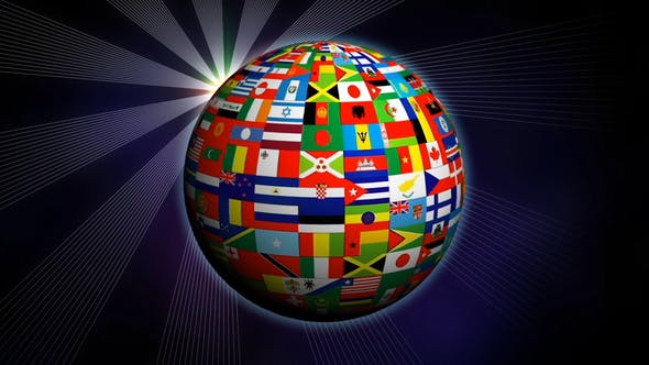 World Globe Flags