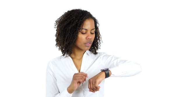 Cover Image for African Woman Using Smartwatch, White Background
