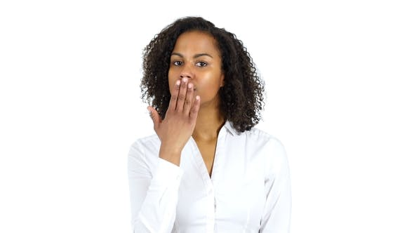 Thumbnail for African Woman Flying Kiss, White Background