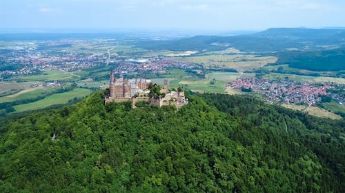 Hohenzollern Castle, Germany. Aerial FPV Drone Flights