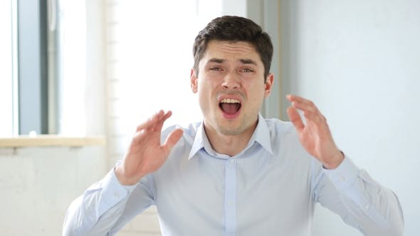 Thumbnail for Upset Man Reacting To Failure in Office, Indoor