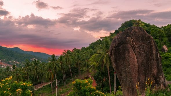 Thumbnail for Beautiful Sunset in Tropical Mountains with Palm Trees in Samui, Thailand.