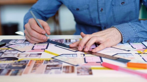 Thumbnail for Architect's Desk: Drawings, Tape Measure, Ruler and Other Drawing Tools. Engineer Works with