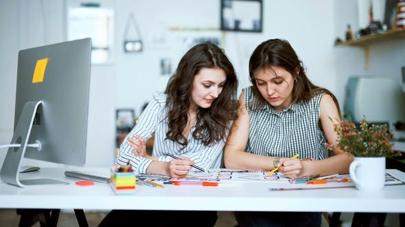 Thumbnail for Young Female Architects Discussing with Blueprint in Office