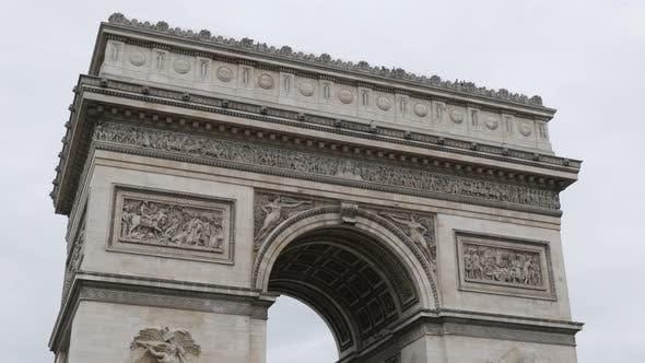 Thumbnail for Famous Arc de Triomphe famous symbol of France and Paris 4K 2160p UltraHD tilt  footage - French  Tr
