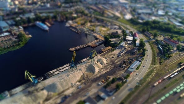 Thumbnail for Aerial View of Cranes at the Quay Tilt Shift