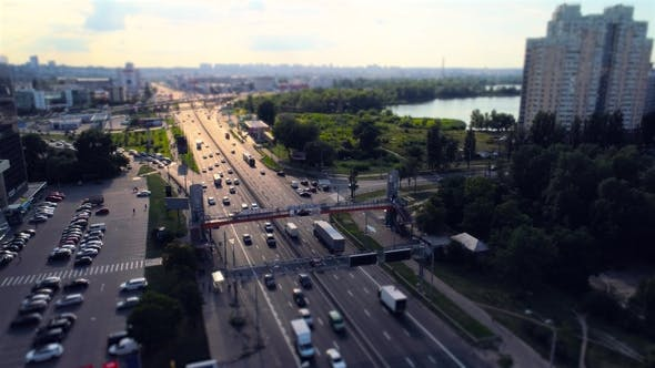 Thumbnail for Aerial View of Pedestrian Bridge Over Traffic