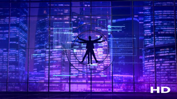 Thumbnail for Vitruvian Man On The Background Of Neon Lights