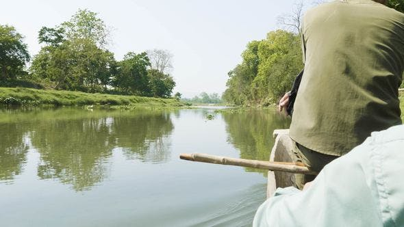 Thumbnail for Canoeing in the River of Rainforest in the National Park Chitwan, Nepal