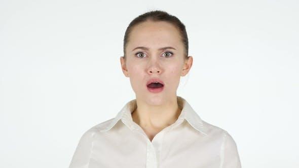 Shocked Woman, White Background