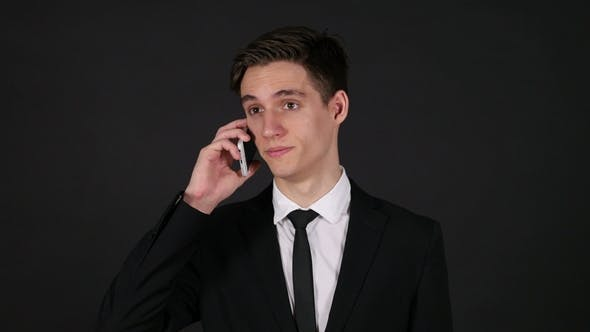 Thumbnail for Talking on Phone, Dark Black Background