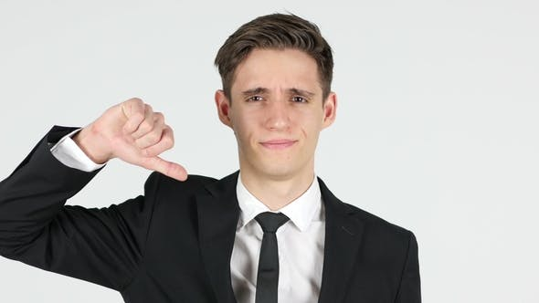 Thumbnail for Thumbs Down By Businessman, White Background