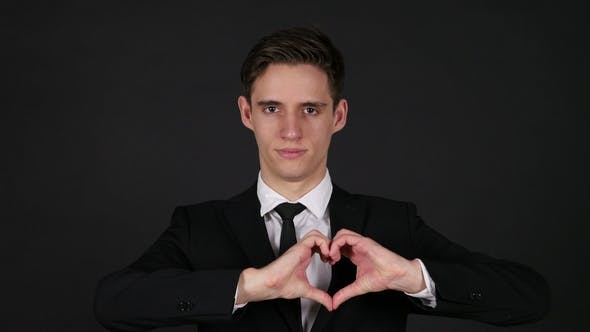 Thumbnail for Heart Sign By Man, Dark Black Background