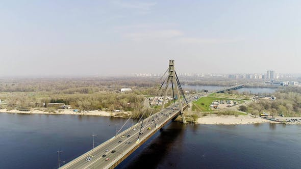 Thumbnail for Aerial View of a City Traffic on the North Bridge