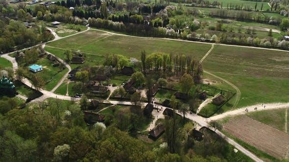 View Over Traditional Ukrainian Village in Spring, Pirogovo, KIev