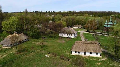 Aerial View Over Traditional Ukrainian Village in Spring, Pirogovo, KIev