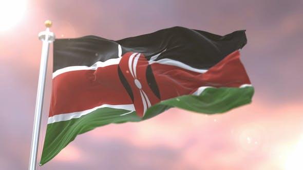 Flag of Kenya at Sunset