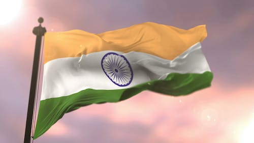 Flag of India at Sunset