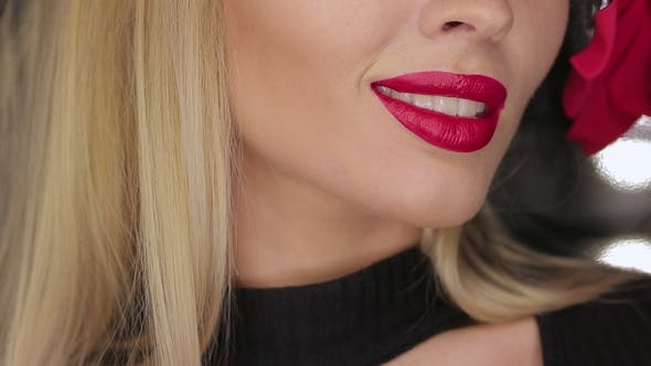 Thumbnail for Crop Female Posing with Lips
