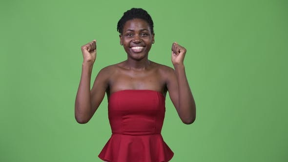 Thumbnail for Young Beautiful African Woman Looking Excited
