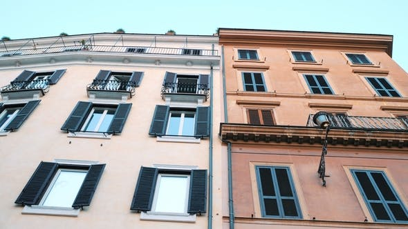 Thumbnail for Apartment Building Streets in Rome Windows with Shutters Facades of Old Houses in the Streets