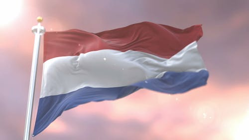 Flag of the Netherlands at Sunset