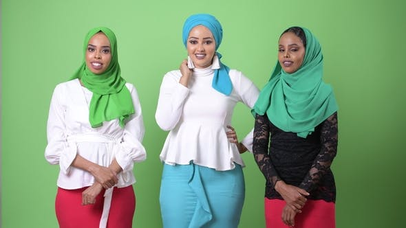 Thumbnail for Three Young African Muslim Women Together Against Chroma Key with Green Background