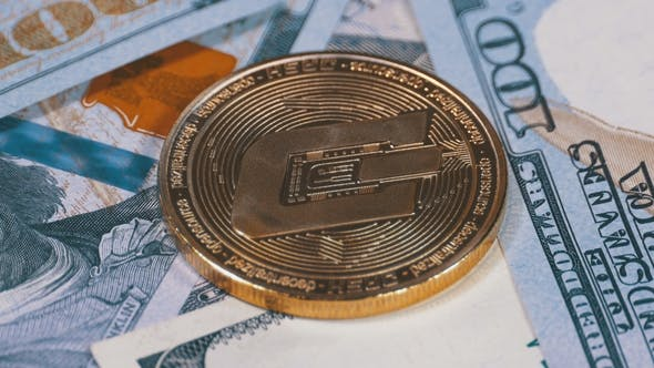 Thumbnail for Gold Dash Coin Cryptocurrency and Bills of Dollars Are Rotating
