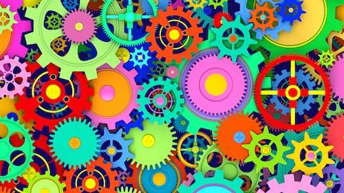 2 Colorful Cogwheels Background